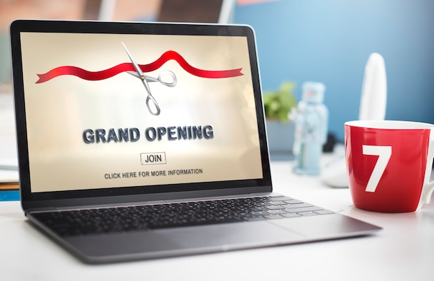 Grand oppening ceremony business join concept