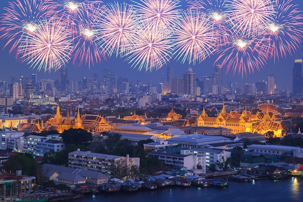 Grand palace at twilight with colorful fireworks (bangkok, thailand)