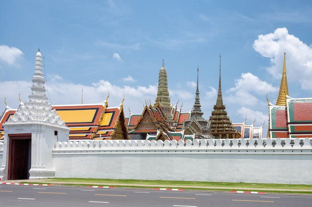 Grand palace and wat phra kaew temple with blue sky in bangkok, thailand