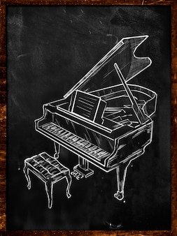 Grand piano drawing on blackboard music