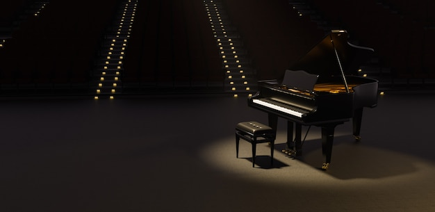 Grand piano illuminated by a spotlight in a theater with many seats behind with illuminated stairs. 3d render