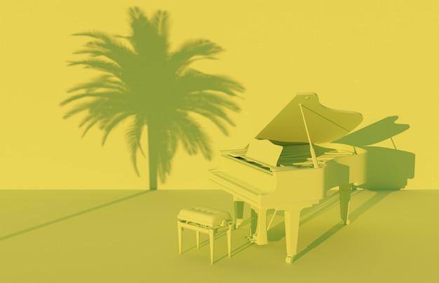 Рояль в зеленом монохроматическом пейзаже с тенью пальмы на стене. 3d визуализация