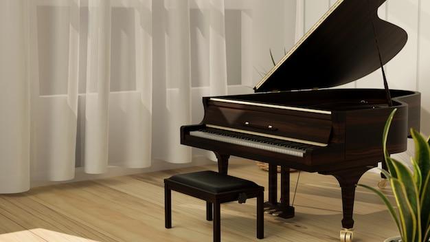 밝은 오크 바닥 커튼과 식물 악기 3d가 있는 현대적인 거실의 그랜드 피아노