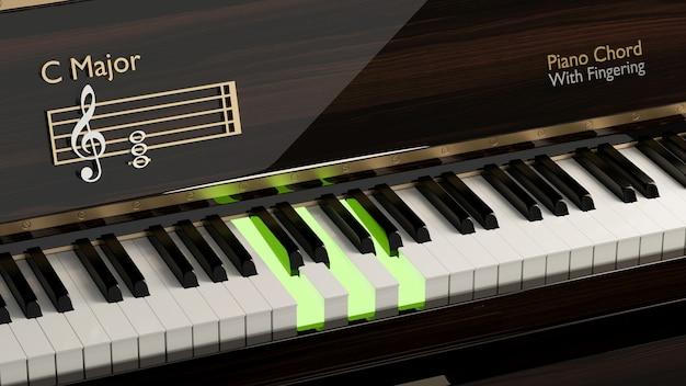 메이저 화음이 있는 그랜드 피아노 기본 레슨 음악 학교를 위한 클래식 악기 피아노 키