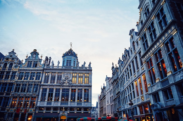 Grand place buildings at sunset