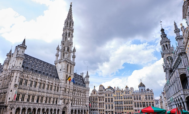 Grand place in the evening in brussels, belgium
