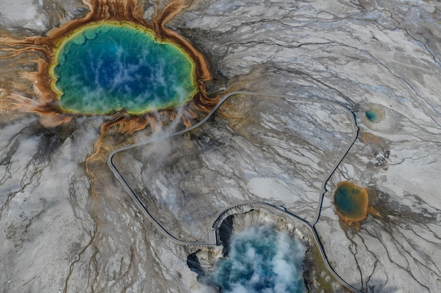 Grand prismatic spring in yellowstone national park from above, usa