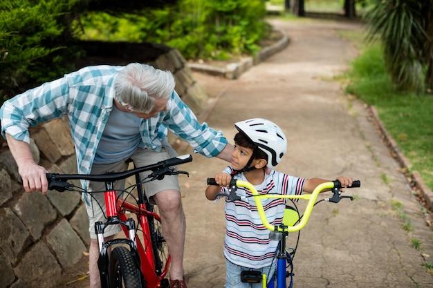 Дед и внук стоя с велосипедом в парке