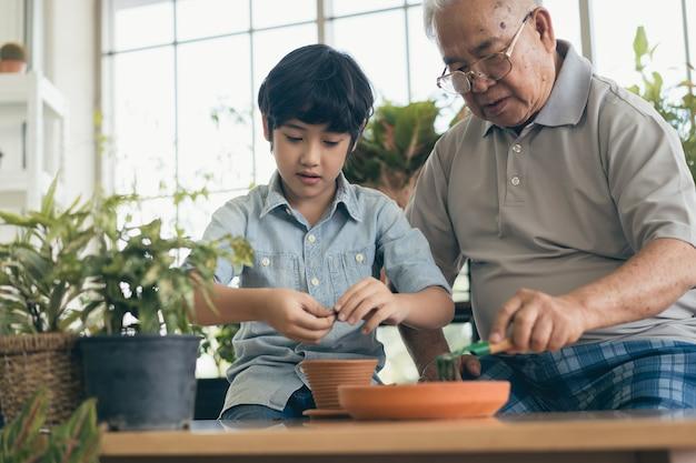 祖父の園芸と孫の指導は、屋内で植物の世話をします
