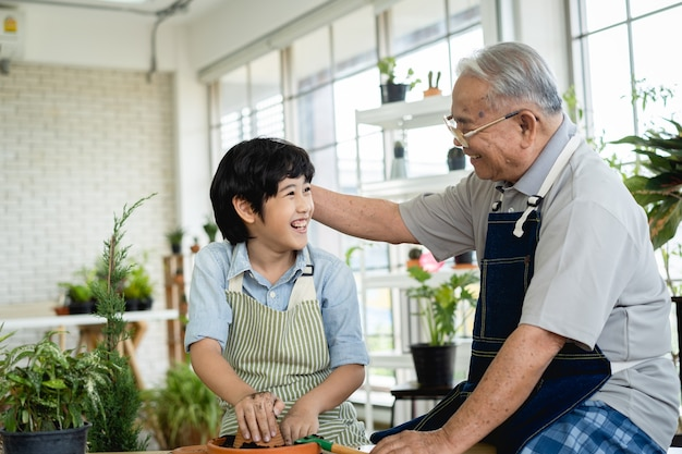 Grandfather gardening and teaching grandson take care  plant indoors