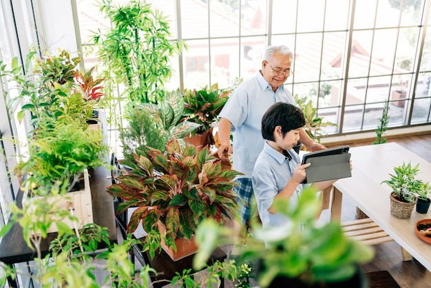Grandfather and grandson live to sell plants on a tablet