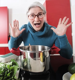 Grandma cooking in the kitchen
