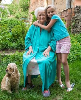 Бабушка и внук в саду