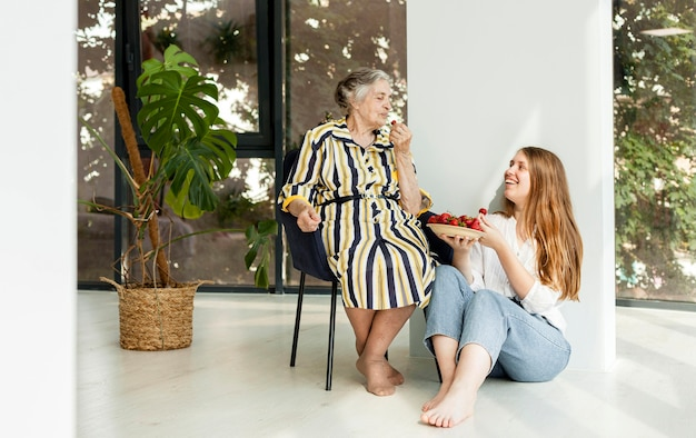 Grandmother happy to spend time with granddaughter