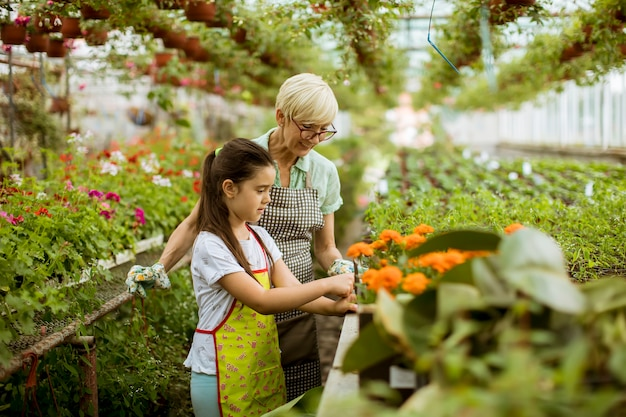 Grandmother and her grandchild enjoying in the garden with flowers