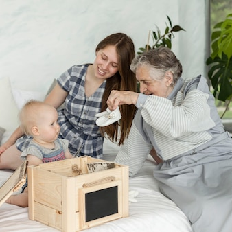 Grandmother spending time with family