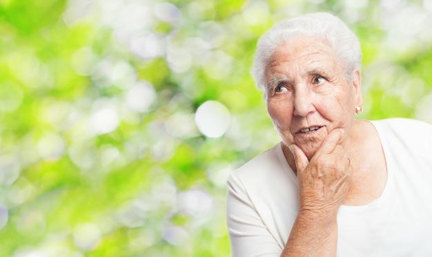 Grandmother thinking