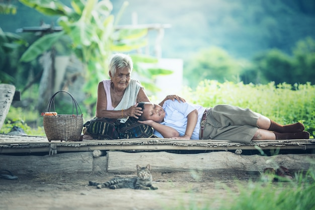 Grandmother with grandson relaxing