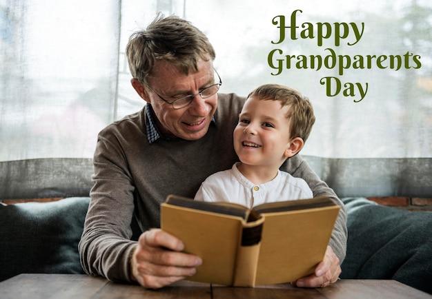 Дедушка и внук празднуют день бабушки и дедушки