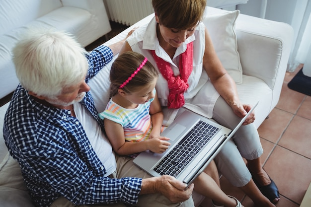 Grandparents and granddaughter using laptop in living room