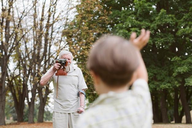 Grandson photo session with grandpa