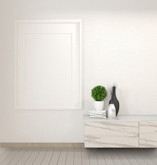 Granite cabinet in modern zen empty room, minimal designs. 3d rendering