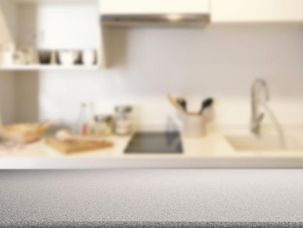 キッチンキャビネットの背景を持つ花崗岩のカウンタートップ