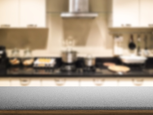 Granite counter with kitchen background