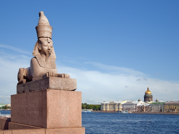 Granite egypt sphinx on the neva river embankment.