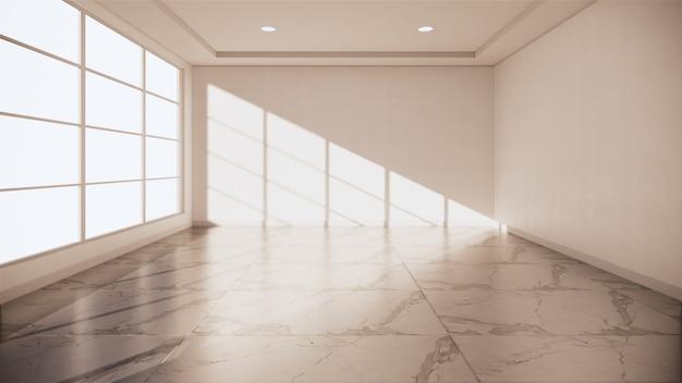 Granite floor room interior - empty room of natural stone granite floor.3d rendering