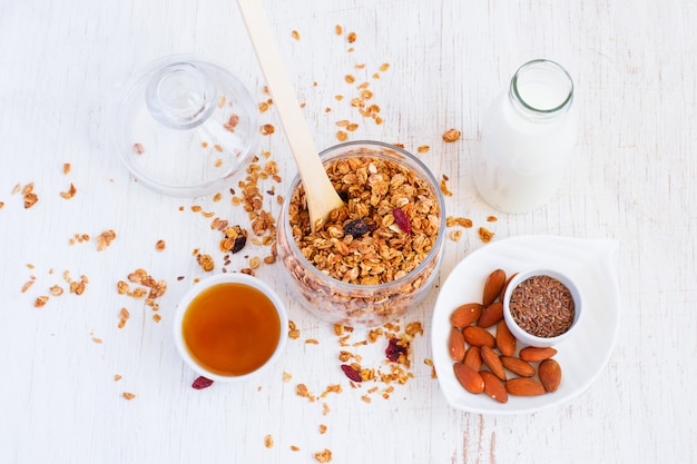 Granola, almonds, milk and honey