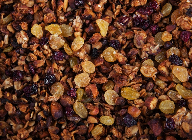 Granola background made with mixed nuts