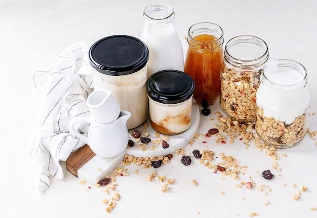 Granola breakfast in glass jars