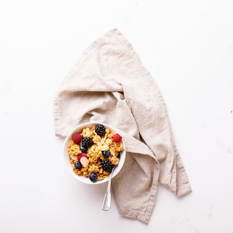 Granola cereal bar with fresh berries