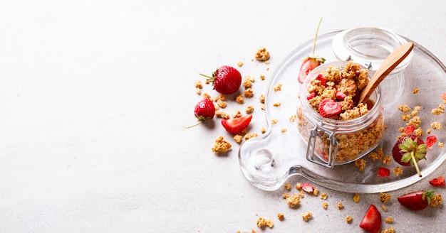 Granola cereal in a cristal jar