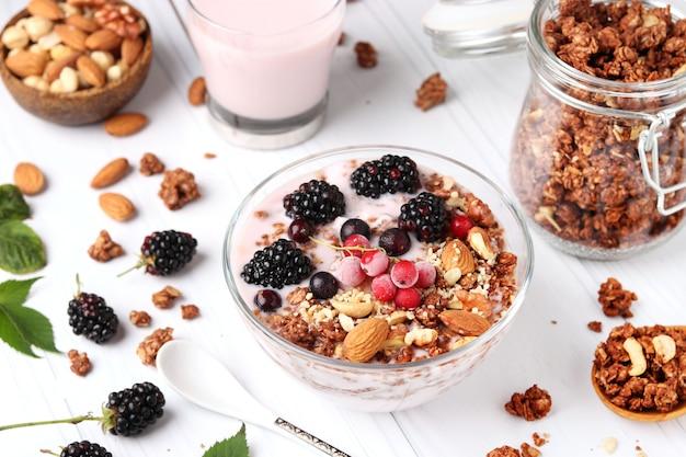 Granola crispy honey muesli with natural yogurt