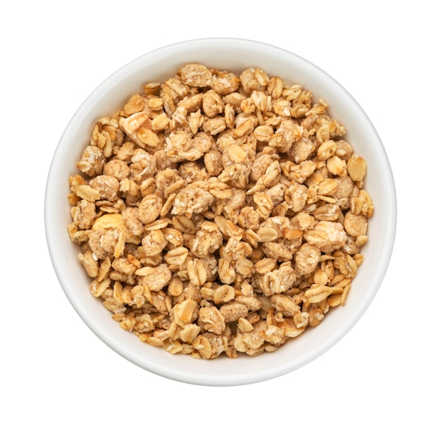 Granola crunchy muesli isolated on white background top view