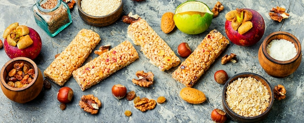 Granola energy bars with dried fruits,banana and nuts.energy breakfast.long banner