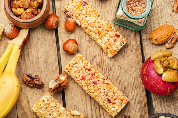 Granola energy bars with dried fruits,banana and nuts