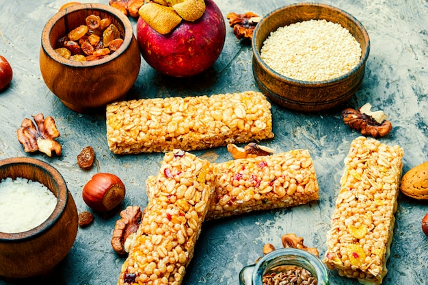 Granola energy bars with dried fruits,fruit and nuts
