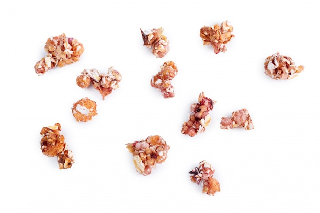 Granola healthy breakfast isolated on white