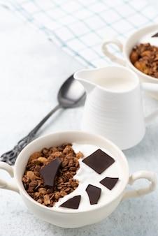 Granola, oatmeal with chocolate food