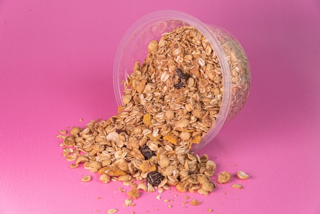 Granola on the pink background