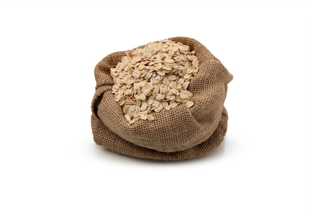 Granola in sack on isolated white background