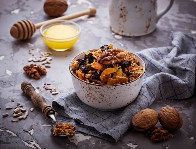 Granola with nuts and dried fruit.