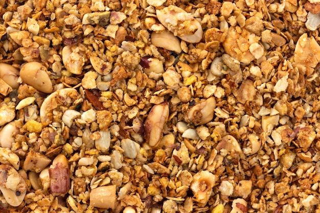 Granola with nuts texture background