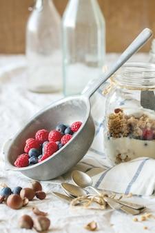 Granola with yogurt berries