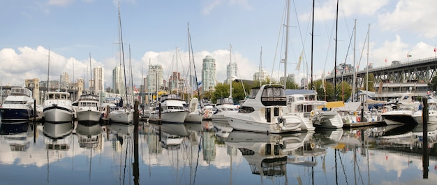 Granville island marina in vancouver bc panorama