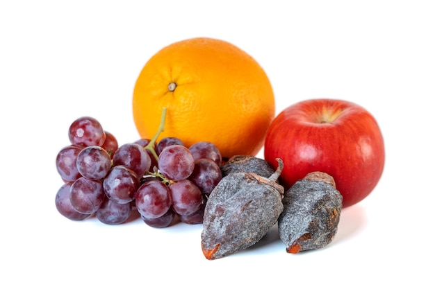 Grape, apple, orange and dry persimmon isolated on white background. fruit.