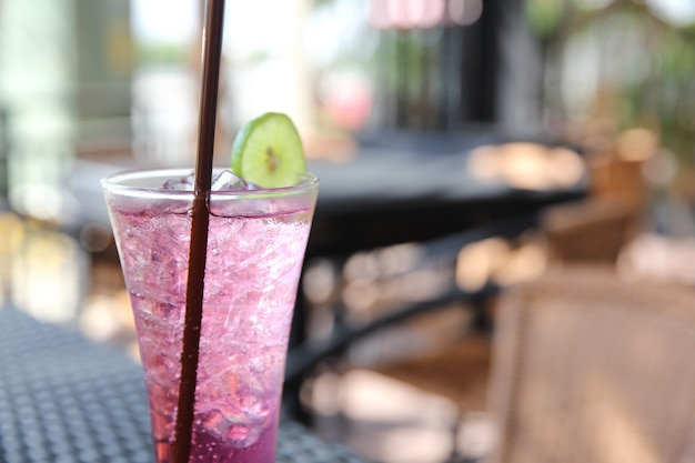 Grape juice with lemon soda
